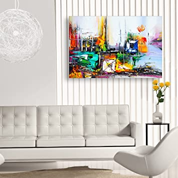 Inephos Unframed Canvas Painting Beautiful Modern Abstract Art Wall Painting For Living Room Bedroom Office Hotels Drawing Room 91cm X 61cm