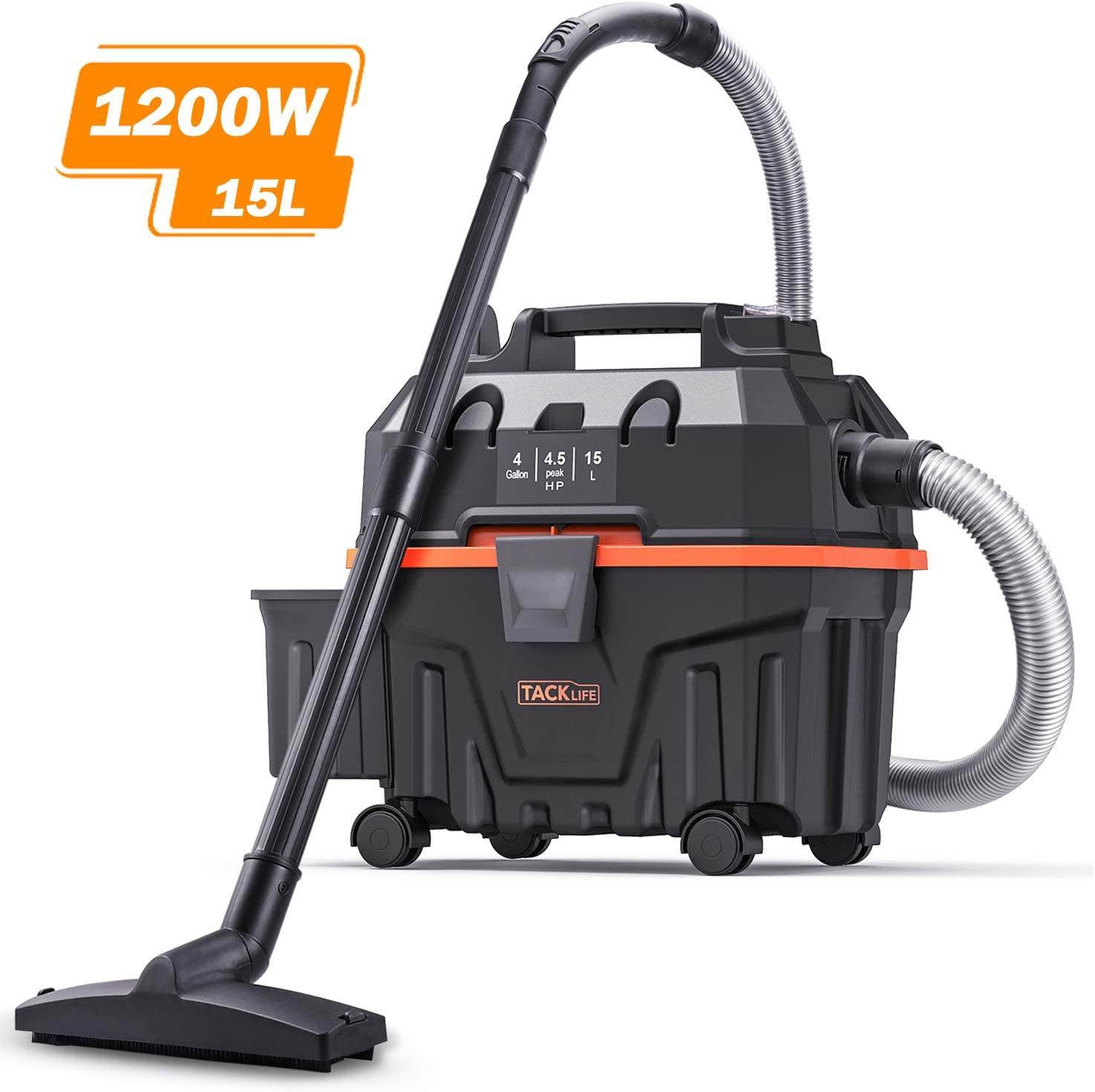 Wet and Dry Vacuum, TACKLIFE 4 Gallon 1200W 4.5 Peak Hp Bagless Wet Dry Vacuum, Wet Suction Dry Suction Blowing 3 in 1 Function, Suitable for Indoor and Outdoor Use, PVC01B