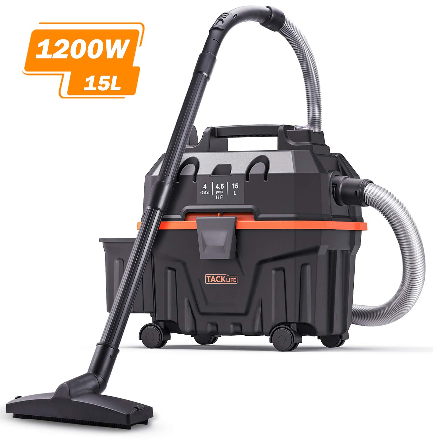 Wet and Dry Vacuum, TACKLIFE 4.5 Gallon 6 Peak Hp Bagless Wet Dry Vacuum, Wet Suction/Dry Suction/Blowing 3 in 1 Function, Suitable for Indoor and Outdoor Use, PVC01B by TACKLIFE