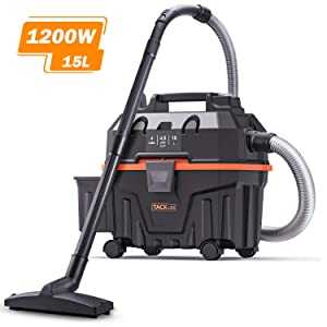 Wet and Dry Vacuum, TACKLIFE 4 Gallon 1200W 4.5 Peak Hp Bagless Wet Dry Vacuum, Wet Suction/Dry Suction/Blowing 3 in 1 Function, Suitable for Indoor and Outdoor Use, PVC01B