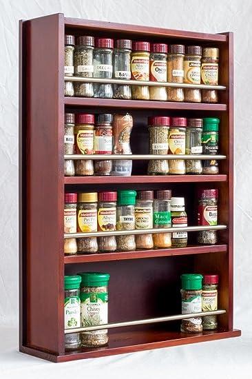 Spice Rack – aus Holz, geschlossene Top – 4 Etagen – Edelstahl Bar ...