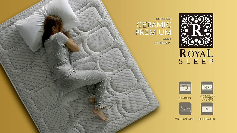 ROYAL SLEEP Colchón viscoelástico Carbono 80x182 firmeza Alta, Gama Alta, Efecto regenerador, Altura 29cm. Colchones Ceramic Premium: Amazon.es: Hogar