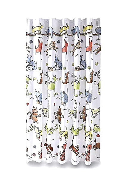 Cats And Dogs Fabric Bathroom Shower Curtain