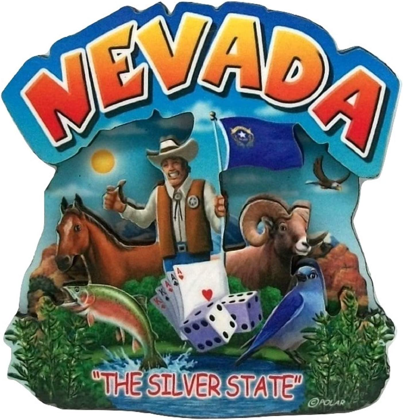 Nevada State Montage Wood Fridge Magnet 2
