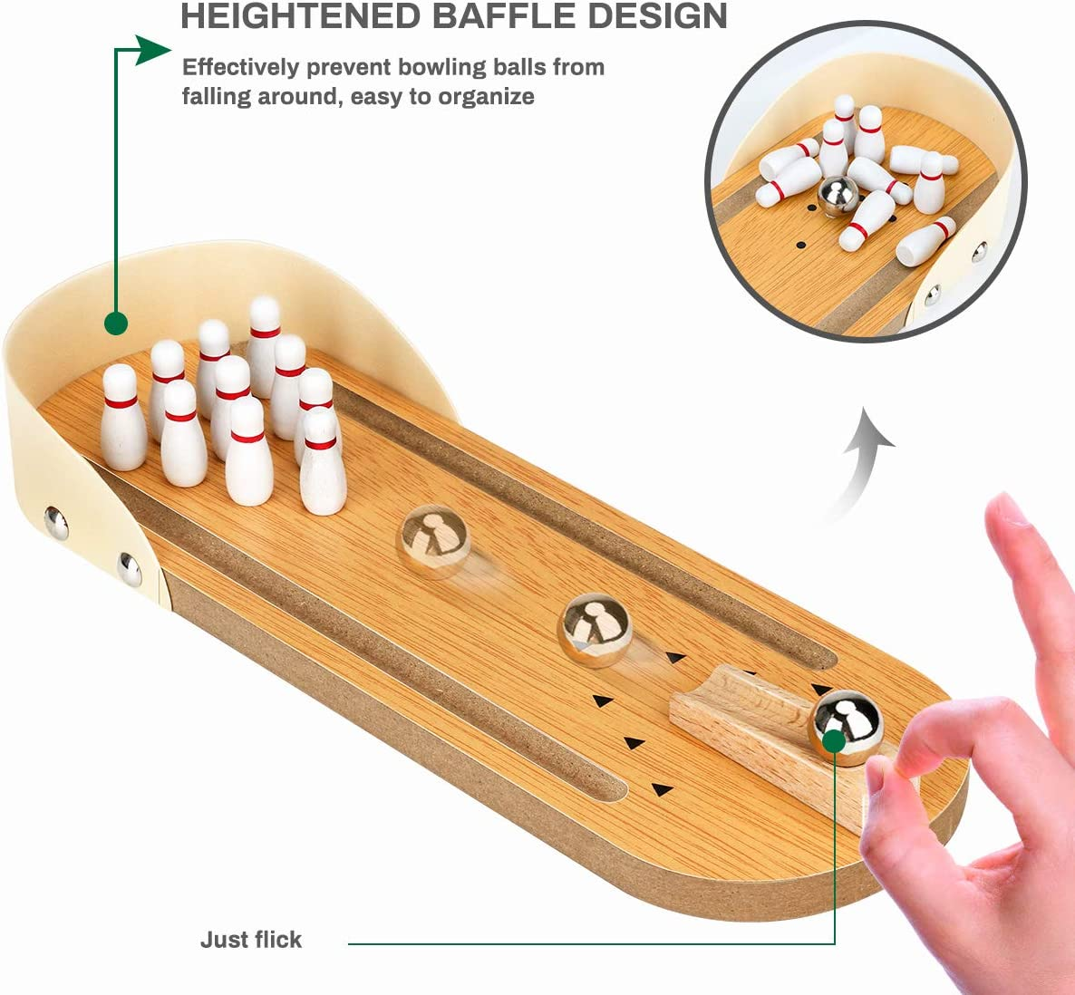 Adults School Toddlers Best Home Bowling Ball Game for Family Party Wooden Tabletop Bowling Game Indoor Bowling Set Desktop Bowling Games for Kids Jhua Mini Bowling Game Travel