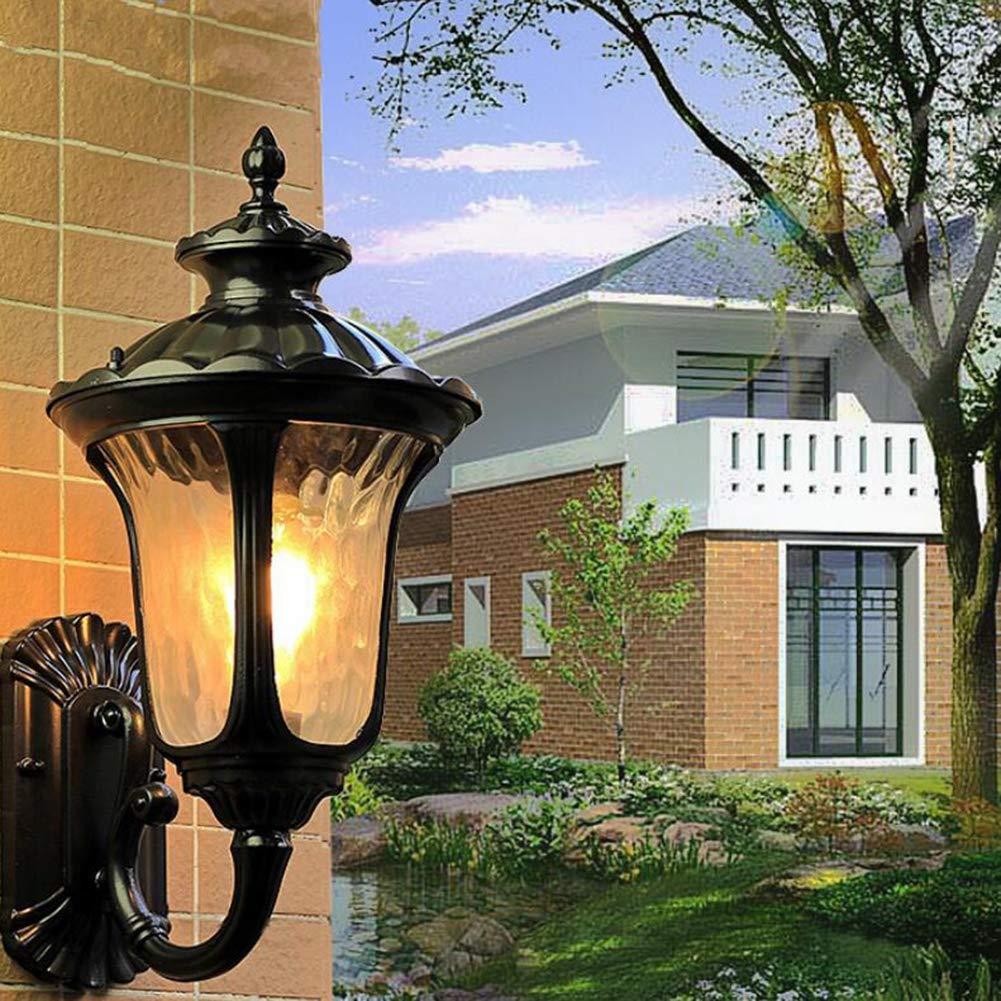 Lampada da Parete a LED Impermeabile all'aperto retrò Stile Nero Arte Semplice per navata Villa Porta Esterna pareti Illuminazione Applique,nero,18x50cm