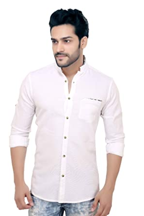 GoPlay White Cotton Apple Cut Shirt for Men: Amazon.in: Clothing ...