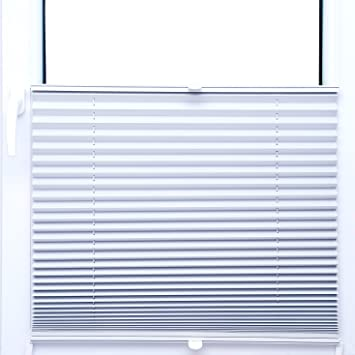Amazon De Thermo Black Out Plissee 40x200 Cm Faltrollo Weiss Silber