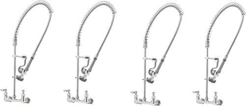 T S Brass B-0133-B Easy Install Wall Mount Pre-Rinse Faucet for Commercial Kitchens. Includes Wall Bracket and Sprayer Meets New DOE Requirements with a 1.15 GPM Flow Rate Pack of 4