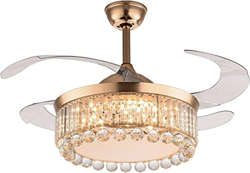 42″ Gold Crystal Ceiling Fan Light
