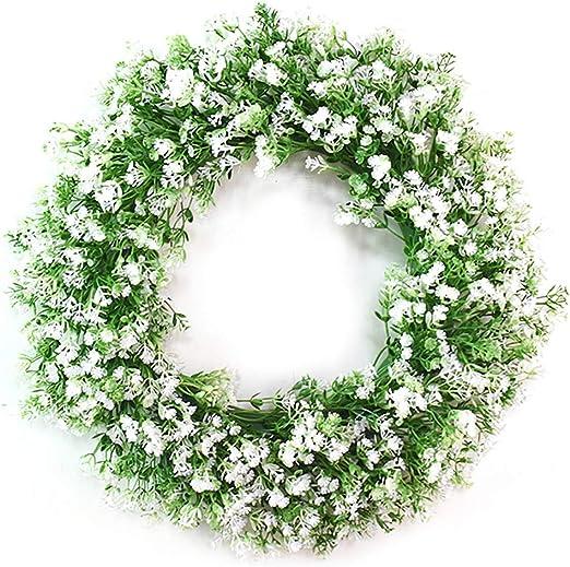 Simulation Gypsophila Flower Wreath Front Door Wall Home Wedding Venue Decor
