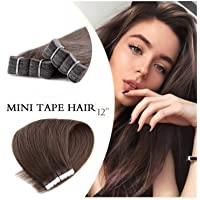 Neitsi Mini Tape in on Hair Extensions Straight Skin Weft Tape Human Hair 10pieces/pack (12inch, 8#)