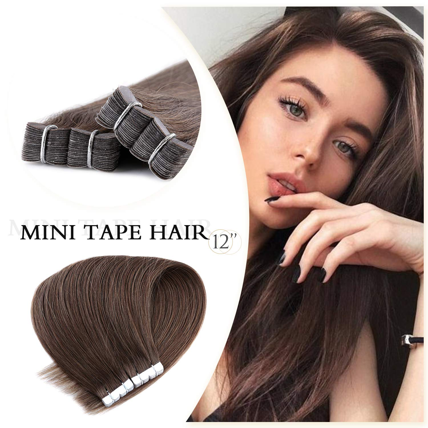 Neitsi 5A 20pcs 12 25g/lot Straight M Tape Hair Weft Extension Tape In Real Human Hair Extensions (10A#) Ltd