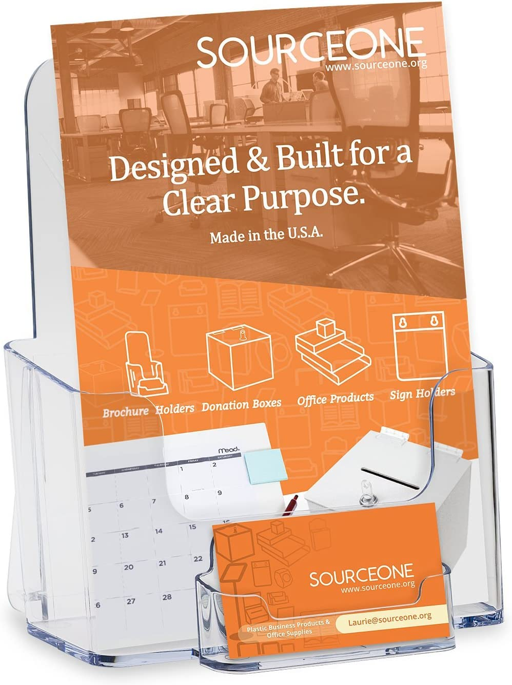 SOURCEONE.ORG Source One Premium Avon/Mary Kay Sized 6-Inch Wide Clear Brochure Holder with Business Card/Gift Card Holder