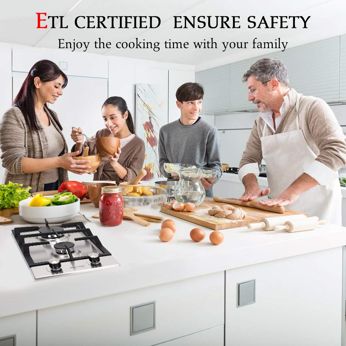 ETL Safety Certified Gasland chef GH30BF 12 Built-in Gas Stove Top Thermocouple Protection /& Easy To Clean Tempered Glass LPG Natural Gas Cooktop Gas Stove Top with 2 Sealed Burners Gas Cooktop