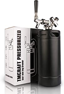 TMCRAFT 128oz Growler Tap System, Pressurized Stainless Steel Mini Keg with Cooler Jacket, Portable Home Dispenser System to Keep Fresh and Carbonation for Draft, Homebrew and Craft Beer (Matte Black)