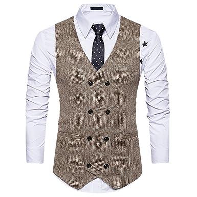 Qiyun Z Manner Vintage Stil Slim Fit Zweireiher Anzug Westen Weste
