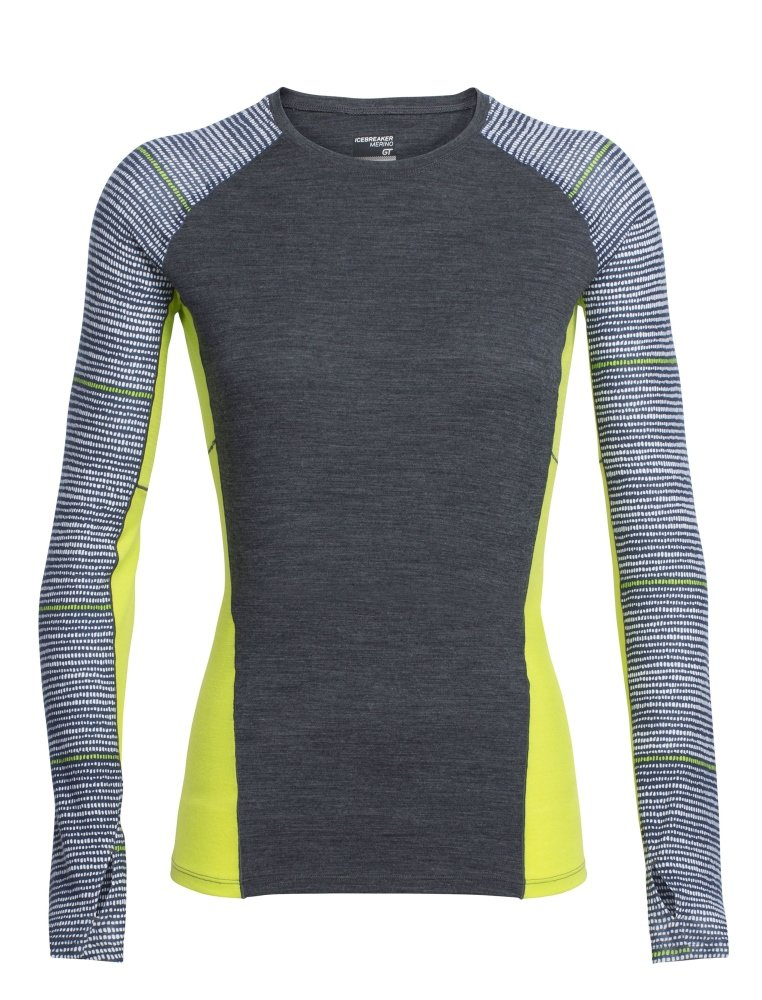 Icebreaker Merino Women's Comet Long Sleeve Crewe Impulse Print, Jet Heather/Snow/Cactus, Large by Icebreaker Merino