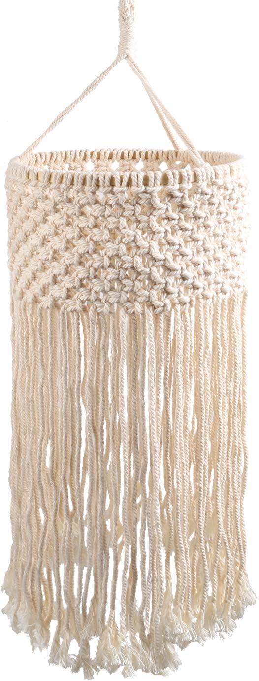 Topotdor Macrame Lamp Shade Bohemian Hanging Pendant Light Cover Handmade Cotton Tasseled Chandelier for Bedroom Living Room Wedding Decoration