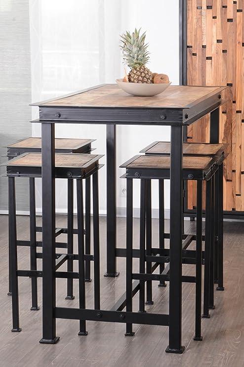 IPN Pack Mesa Alta + 4 taburetes de Metal y Madera 120 x 70 cm ...