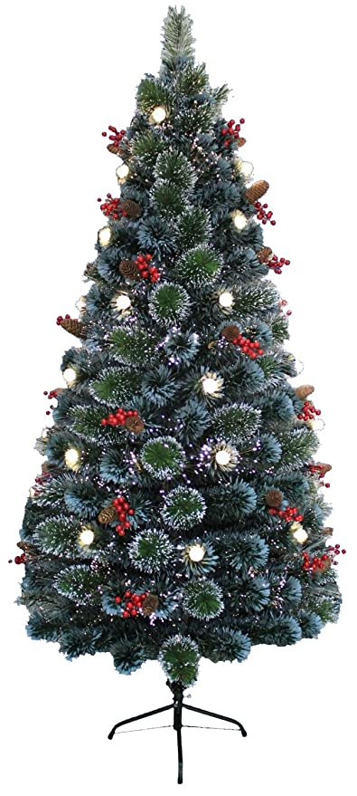 Led Fiber Optic Christmas Trees.Christmas Concepts 72 1 8m Frosted Green Led Fibre Optic Christmas Tree Warm White Led Lights Berry Pinecone Decoration