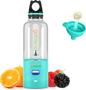 GoBlend Portable USB Juicer Blender - For Smoothies, Shakes, Baby Food, Juices, Coffee and More - 500ml Mini Travel Blender, Household Fruit Mixer, Personal Size Mixing Machine with Six Blades, Small Size Easy to Carry - 4000mAh Electric Mixer