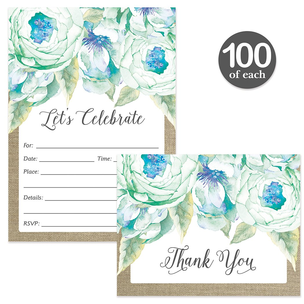All Occasion Invitations ( 100 ) & Matched Thank You Cards ( 100 ) Set with Envelopes Blue Flowers Birthday Party Office Retirement Large Event Fill-in Invites & Folded Thank You Notes Best Value Pair