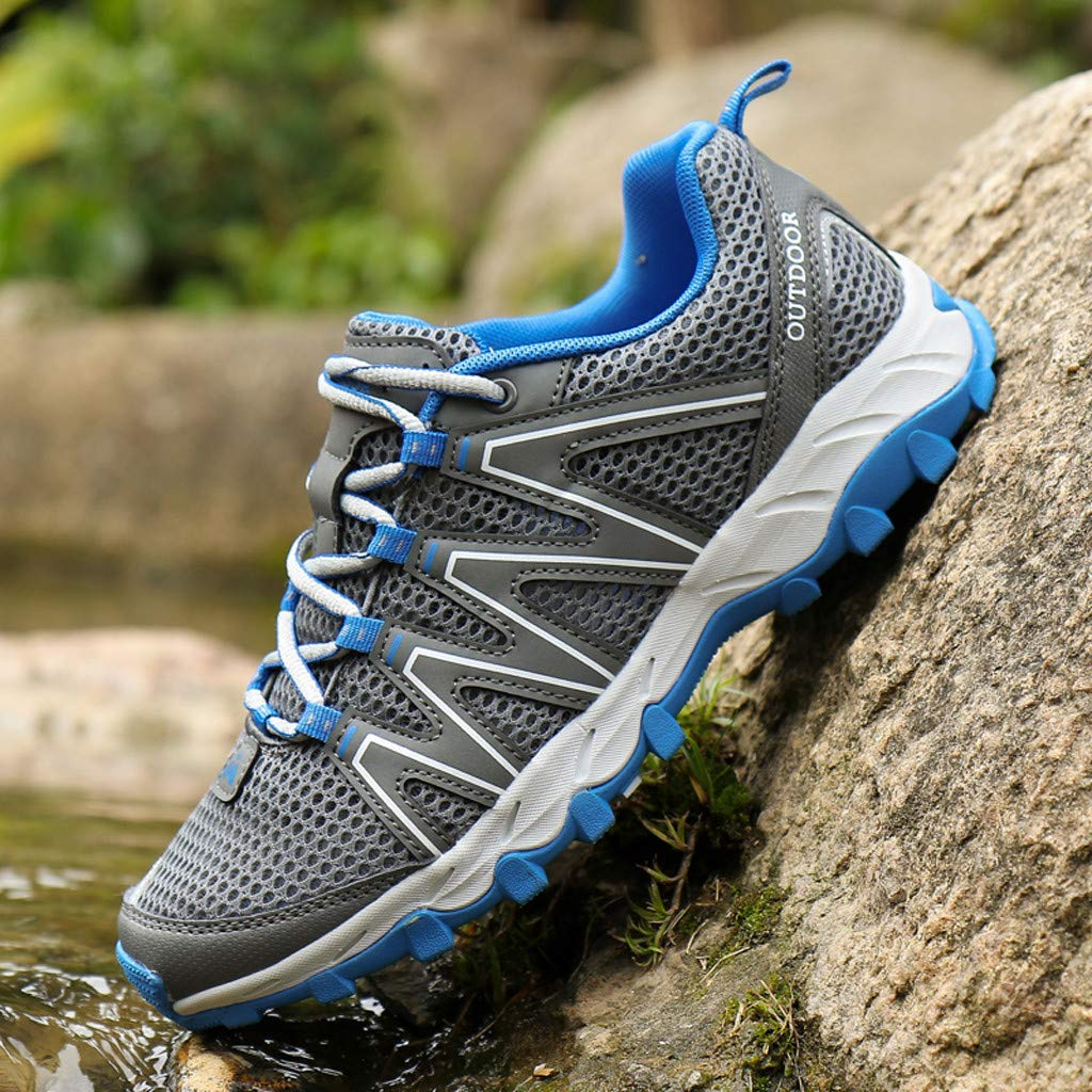 Hiking Sneakers Men,Mosunx Athletic 【Mesh Breathable Non-Slip】Lightweight Lace Up Outdoor Trail Walking Shoes Climbing Shoes (10 M US, Gray) by Mosunx Athletic (Image #3)
