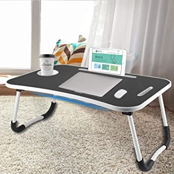 Large Laptop Desk for Adults Lap and Eating,White CAMPMOON Foldable Laptop Table for Bed
