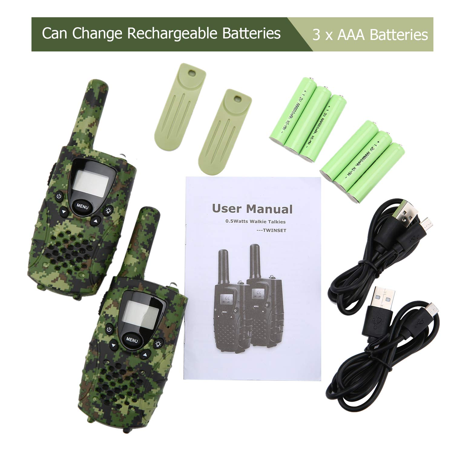 2 Pack Walkie Talkies for Adults Westayin Range Up to 4 Mile Walkie Talkies 22 Channels with Crystal Sound Long Range T4801 Kids Walkie Talkies with Vox-Hands Free Green Camo