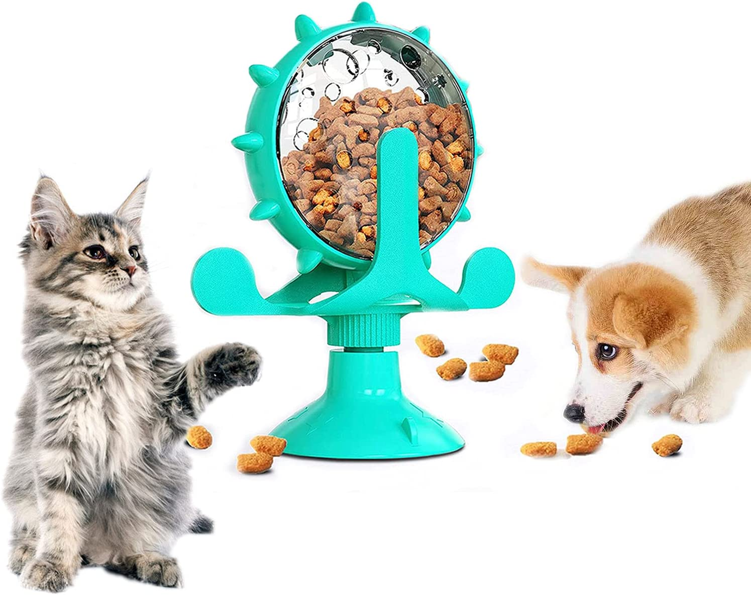 TAOZUA Cat Food Dispenser Toy,360° Rotating Windmill Treat Dispenser Pet Toy with Suction Cup, Interactive Slow Feeder Toy for Cats/Dogs