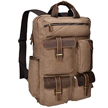 92db94116041 Amazon.com  ALTOSY Canvas Backpack Crazy Horse Leather Rucksack for men  Laptop Bag 5351-1 (Brown)  ALTOSY Co.