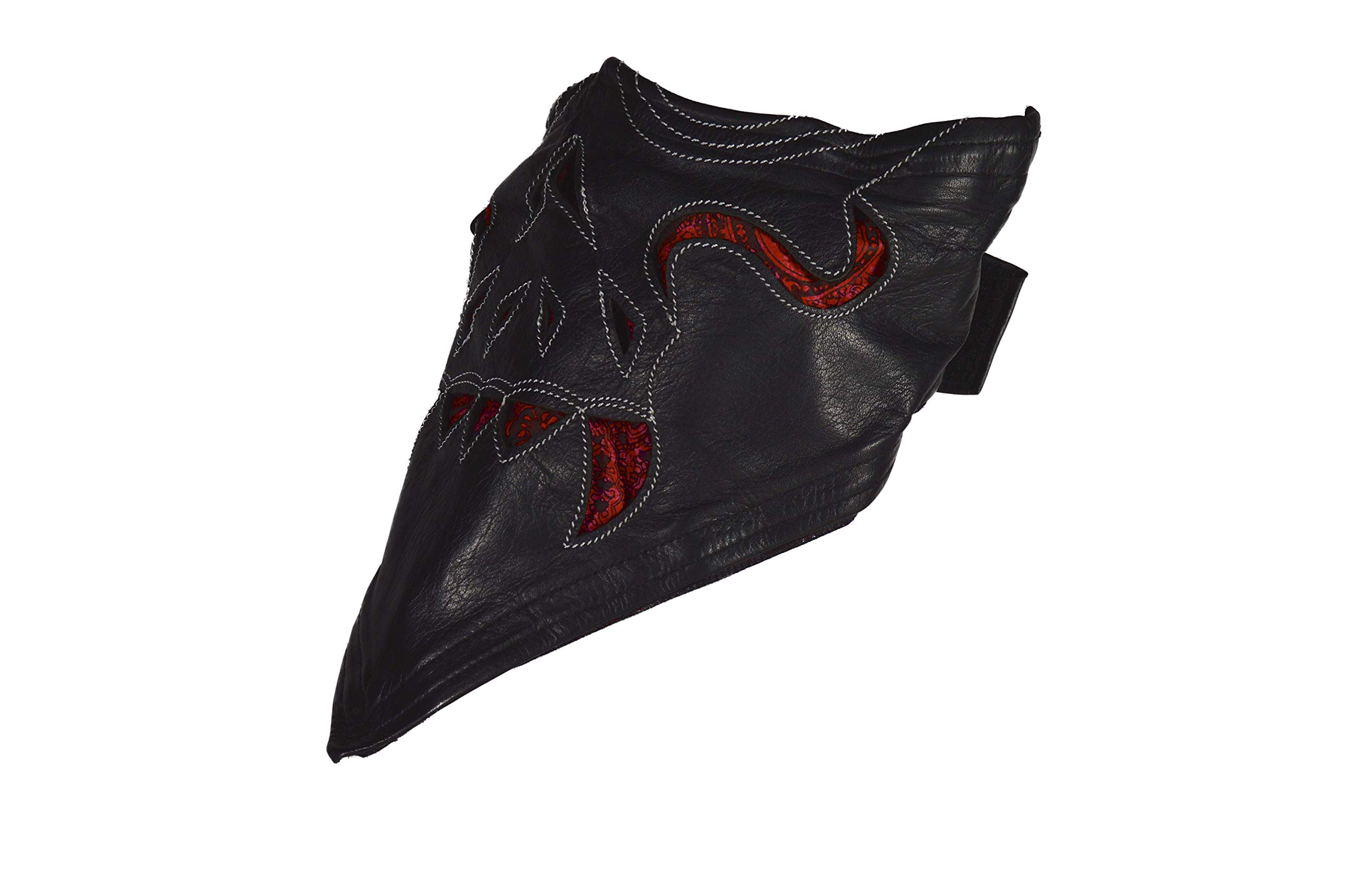 Leather Face Motorcycle Mask Leather Half Face Mask Skull Mask with Fangs (Red)