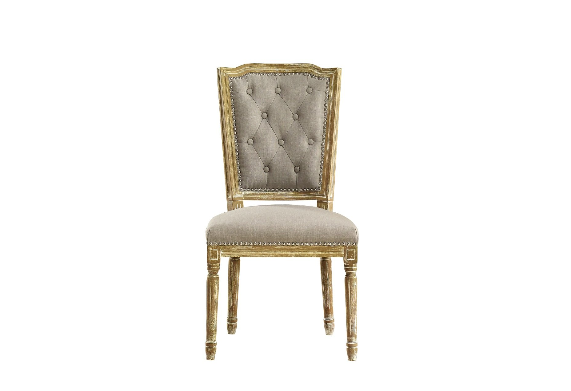 Baxton Studio Estelle Shabby Chic Rustic French Country Cottage Weathered Oak Linen Button Tufted Upholstered Dining Chair, Medium, Beige - Gorgeous French Provincial Style Aesthetic Improves with Age Stunning Solid Oak with White Wash Effect - kitchen-dining-room-furniture, kitchen-dining-room, kitchen-dining-room-chairs - 71J%2B3ntQiIL -