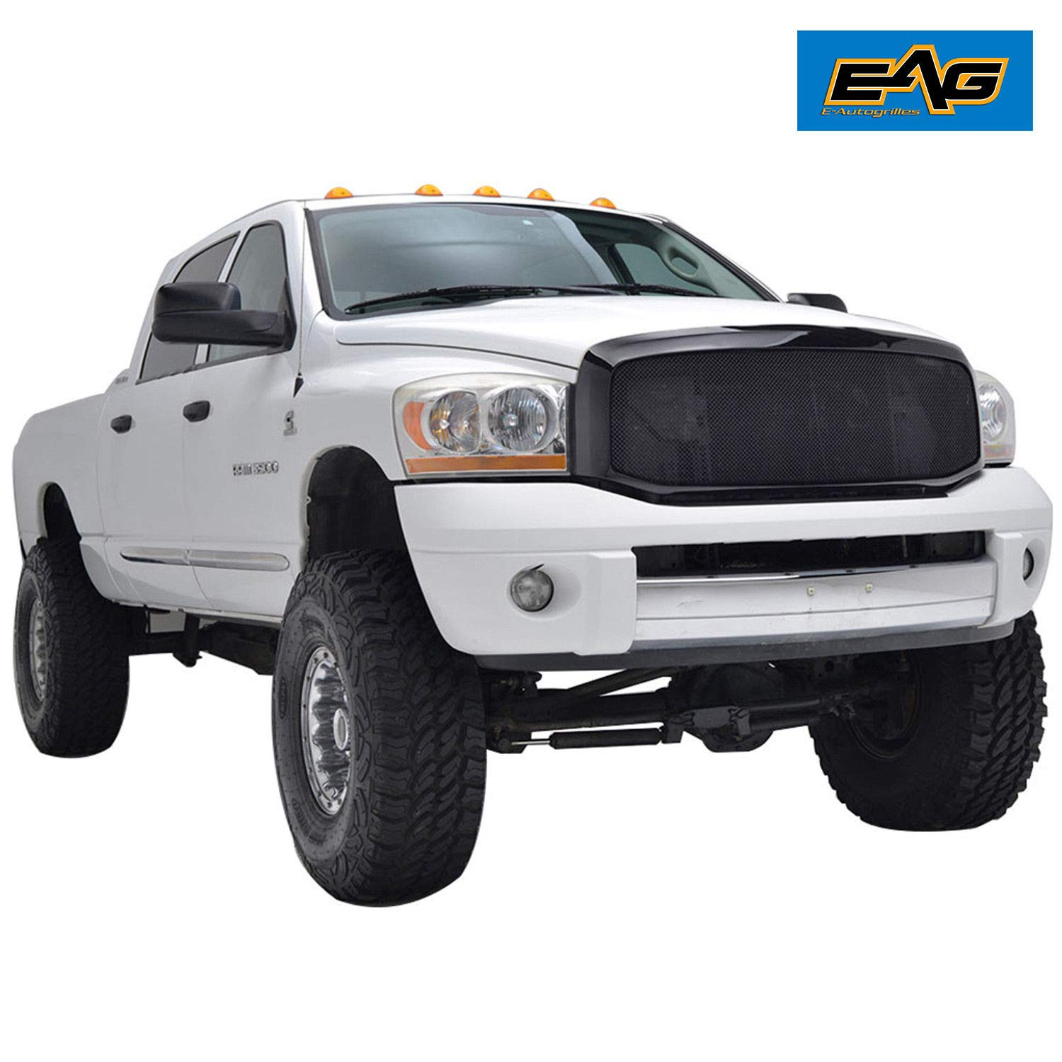 Black Ram 2500 >> Eag 06 09 Dodge Ram 1500 2500 3500 Mesh Grille Black Stainless Steel With Abs Shell
