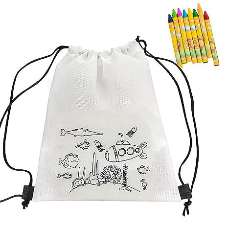 CUSFULL 10Pcs Mochilas Graffiti con Cordón +10 Cajas de Crayones, Doodle Bolsas de Cuerdas