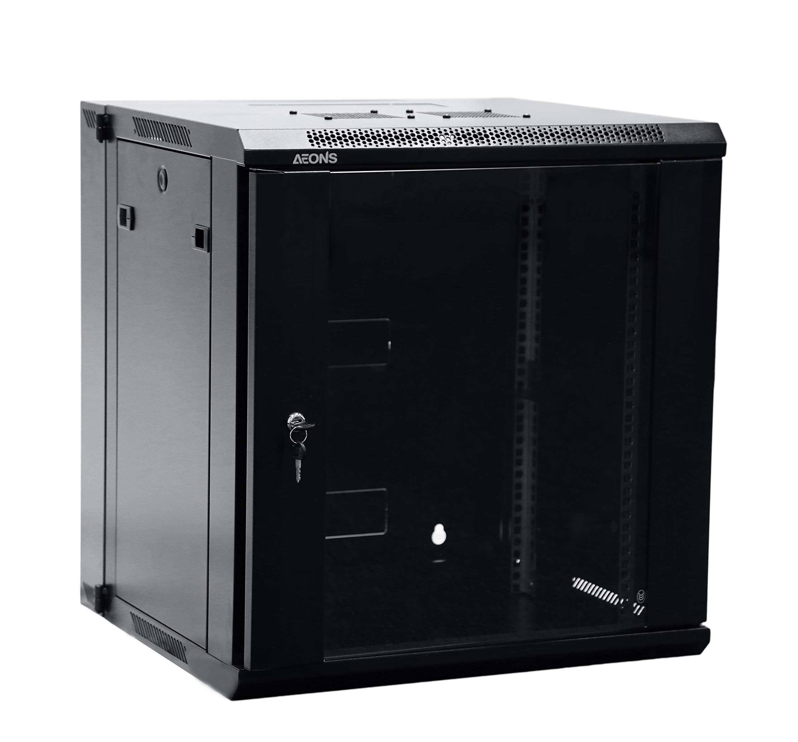 AEONS Depot 12U Professional Wall Mount Server Cabinet Enclosure Double Section Hinged Swing Out 19-Inch Server Network Rack with Locking Glass Door Black (Fully Assembled) by AEONS