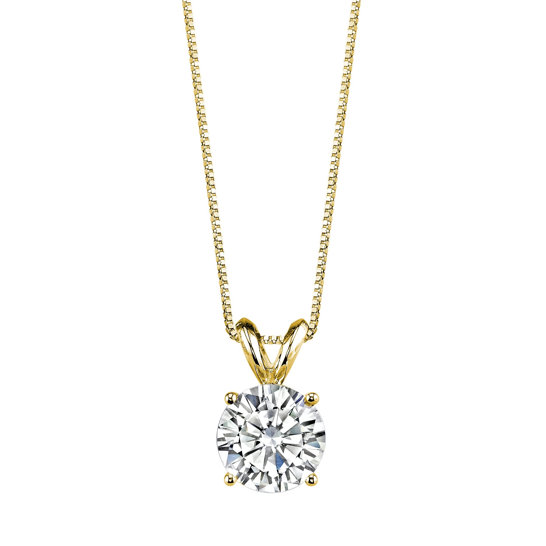 Forever Brilliant Round Cut 7.5mm Moissanite Pendant Necklace, 1.50ct DEW By Charles & Colvard