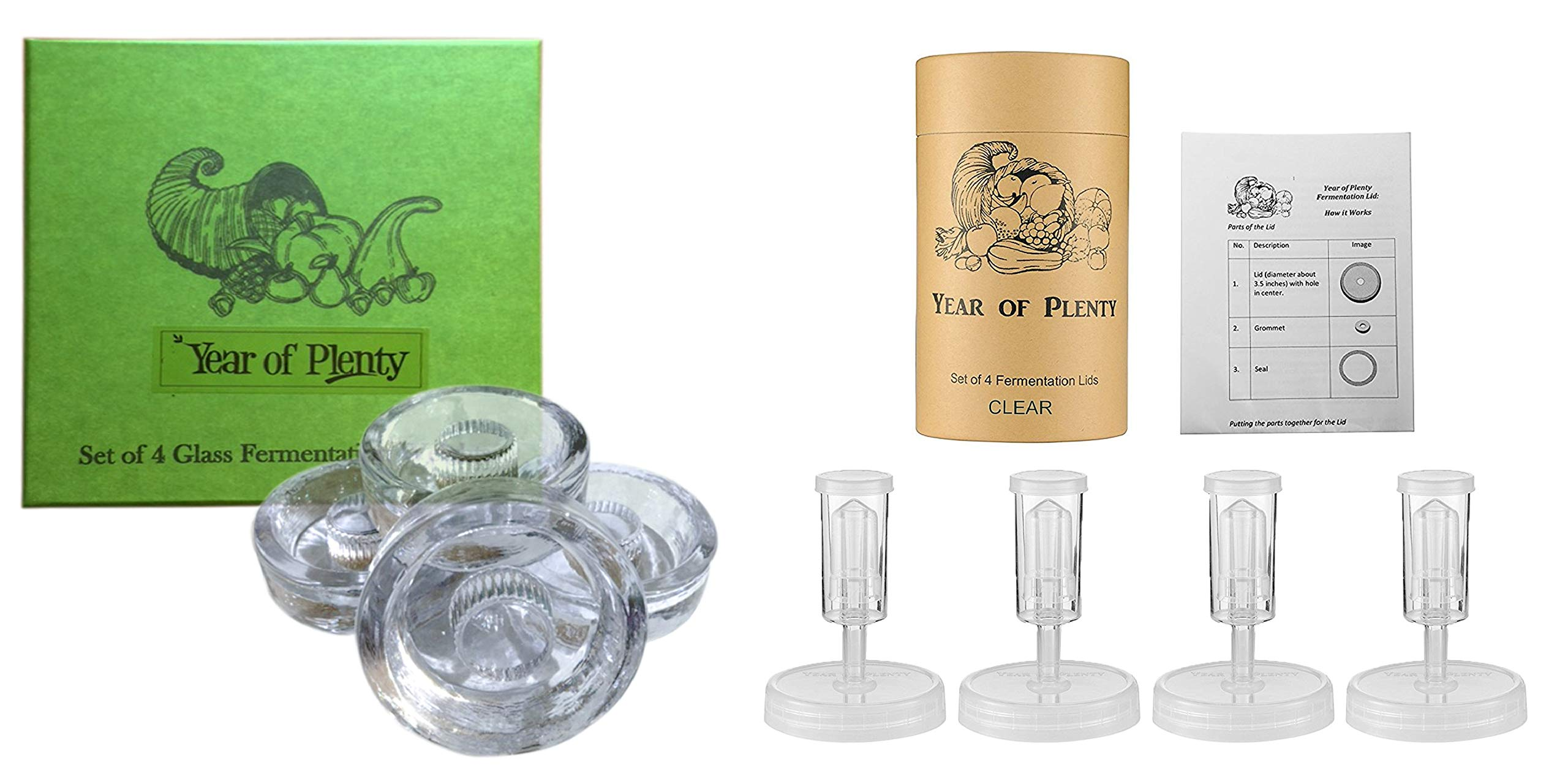Year of Plenty Fermentation Set | Includes 4 NonSlip Grip Glass Fermentation Weights and 4 Clear Fermenting Lids | For Wide Mouth Mason Jar Ferments such as Sauerkraut, Kimchi and Pickles