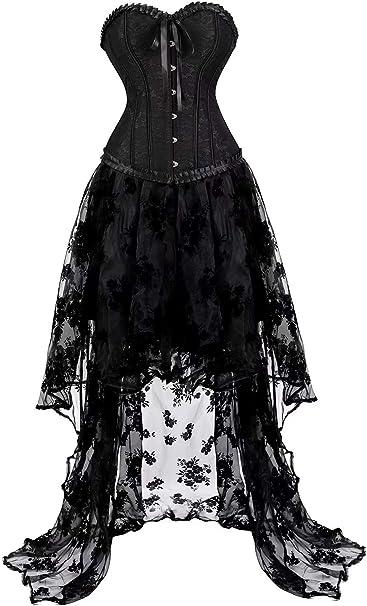 Mujer Disfraz Corset de Vestir Elegantes Falda Vestidos Lingerie ...
