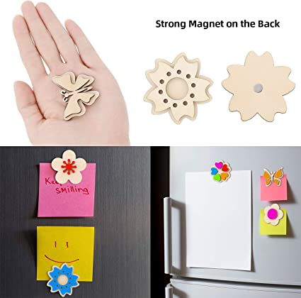12 Pieces Wooden Magnet Fun Creative DIY Arts and Crafts Kit Painting Kit DIY Flower Butterfly Magnet Craft Kit with 12 Water Color Brushes 2 Acrylic Stickers for Paint Birthday Parties Family Crafts