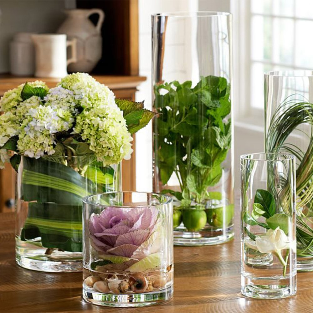 Noah Decoration Hand-Blown and Handmade Cylinder Clear Glass Flower and Filler Vase for Home and Wedding Indoor and Outdoor Decoration 4.33