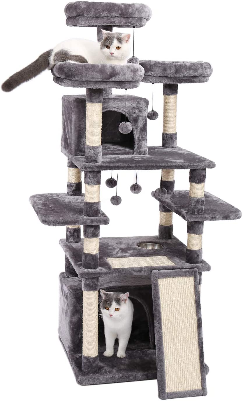 Made4Pets 66 Inches Multi-Level Cat Tree Tower with Feeding Bowl (only Dry Food), Deluxe Kitten Condos with Cozy Perches and Replaceable Dangling Balls