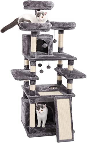 Made4Pets 66 Inches Multi-Level Cat Tree Tower with Feeding Bowl only Dry Food , Deluxe Kitten Condos with Cozy Perches and Replaceable Dangling Balls