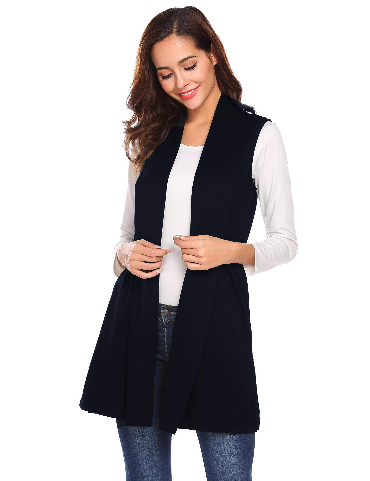 Lunir Ladies Lightweight Sleeveless Ombre Open Front Cardigan Vest Long Cardigan Sweater