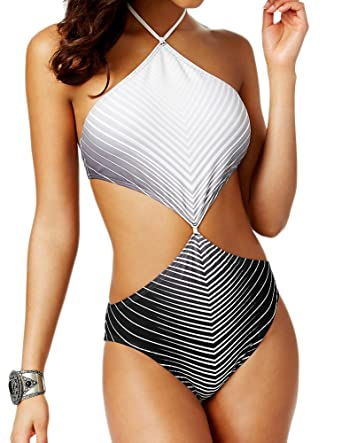 7a3baf4609 Image Unavailable. Image not available for. Color: Vince Camuto One Piece  High Neck Cut Out Chevron Monokini Swimsuit ...