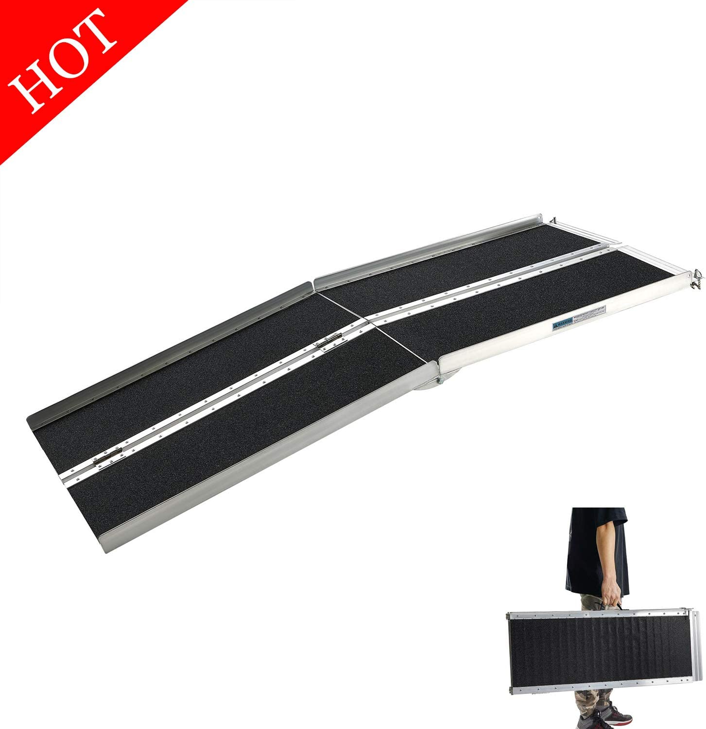 Wheelchair Ramps 5FT, gardhom Extra Wide 31.3' Folding Portable Antiskid Loading Ramp for Scooters Lawn Mower Doorways Steps