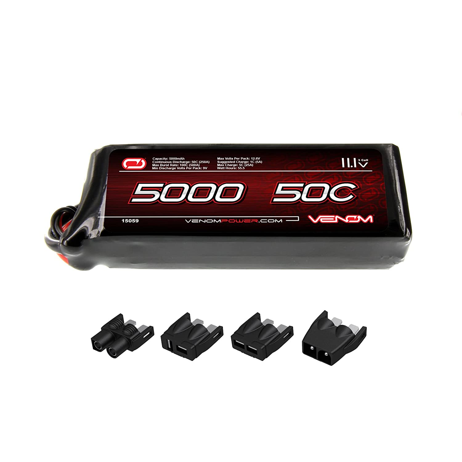Amazon Venom 50C 3S 5000mAh 11 1V LiPo Battery with Universal Plug EC3 Deans Traxxas Tamiya Toys & Games