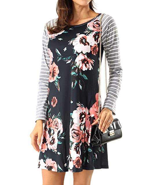 c19ab167b7 ROOSEY Women s Floral Print Casual Long Sleeve A-line Loose T-Shirt Dresses  Knee