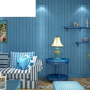 Vliestapete Östliches Mittelmeer Holz Tapete blau Schlafzimmer ...